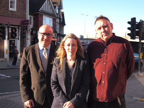 Richard Logue, Donna Pickup & Roger Tichborne standing in Mill Hill