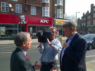 Cllr Jack Cohen being interviewed by the BBC
